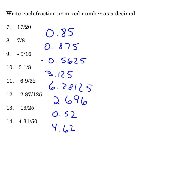 1 3 Decimal Form Q When You Write A Fraction With A Prime ...