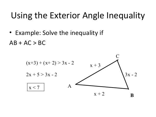 5 2 triangle inequality theorem - Exterior angle inequality theorem ...