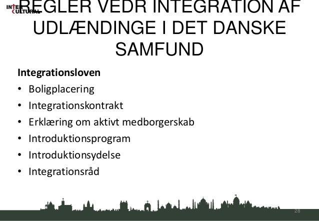 REGLER VEDR INTEGRATION AF UDLÆNDINGE I DET DANSKE        SAMFUNDIntegrationsloven• Boligplacering• Integrationskontrakt• ...