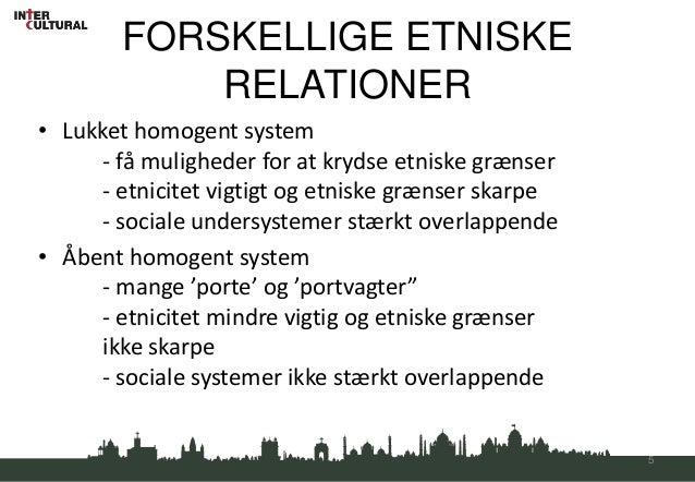 FORSKELLIGE ETNISKE            RELATIONER• Lukket homogent system     - få muligheder for at krydse etniske grænser     - ...