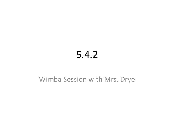 5.4.2<br />Wimba Session with Mrs. Drye<br />