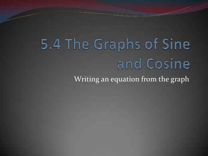 5.4 The Graphs of Sine and Cosine<br />Writing an equation from the graph<br />