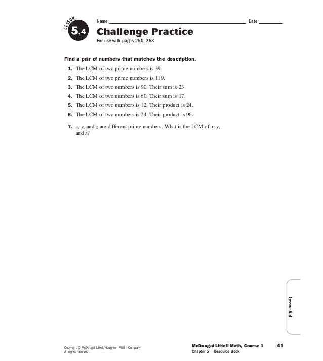 Copyright © McDougal Littell/Houghton Mifflin Company All rights reserved. McDougal Littell Math, Course 1 41 Chapter 5 Re...