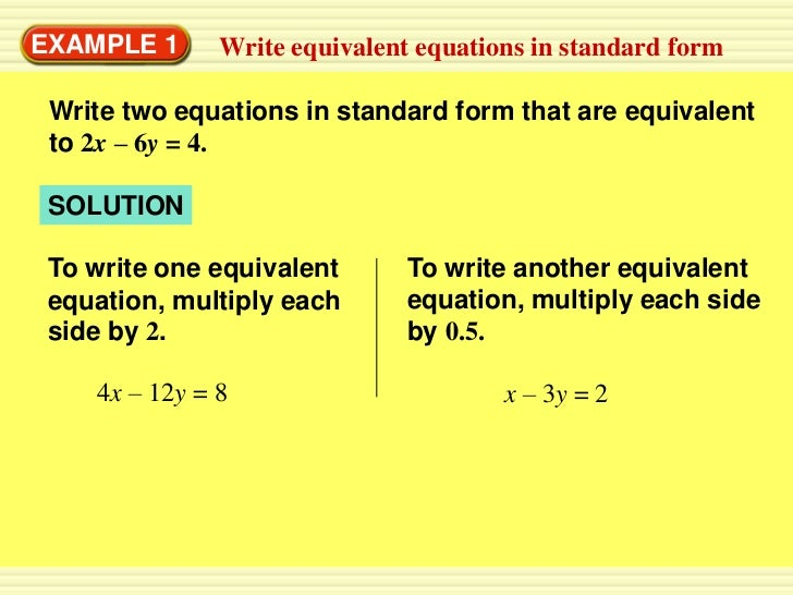 5.4 write linear equations in standard form day 1