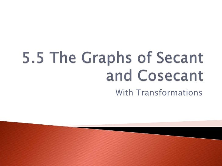 5.5 The Graphs of Secant and Cosecant<br />With Transformations<br />