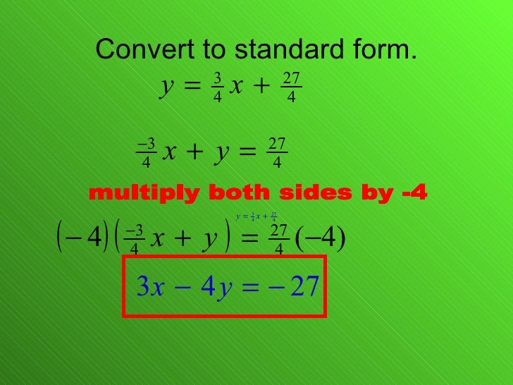 Change Equations To Standard Form Dolapgnetband
