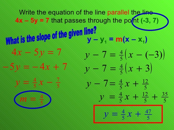 55 Linear Equations Point Slope Form