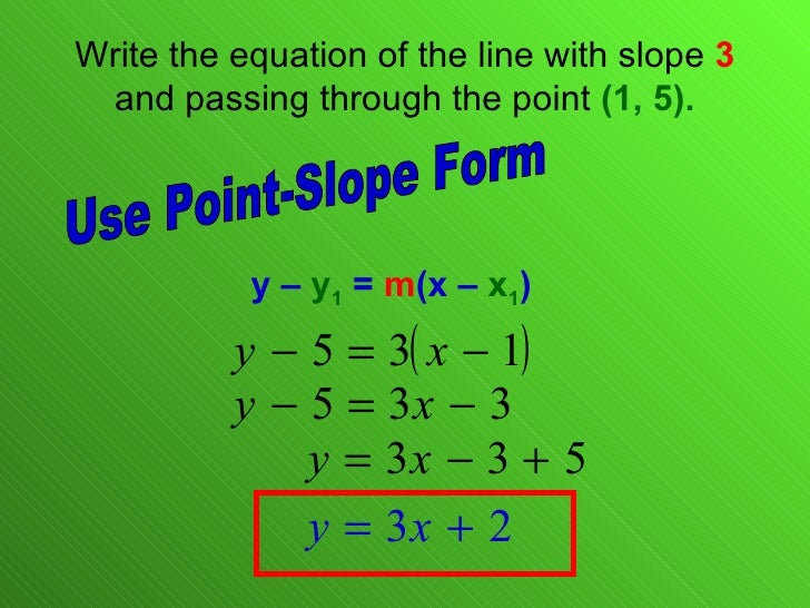 point slope form equation of a line  115.115 Linear Equations Point Slope Form