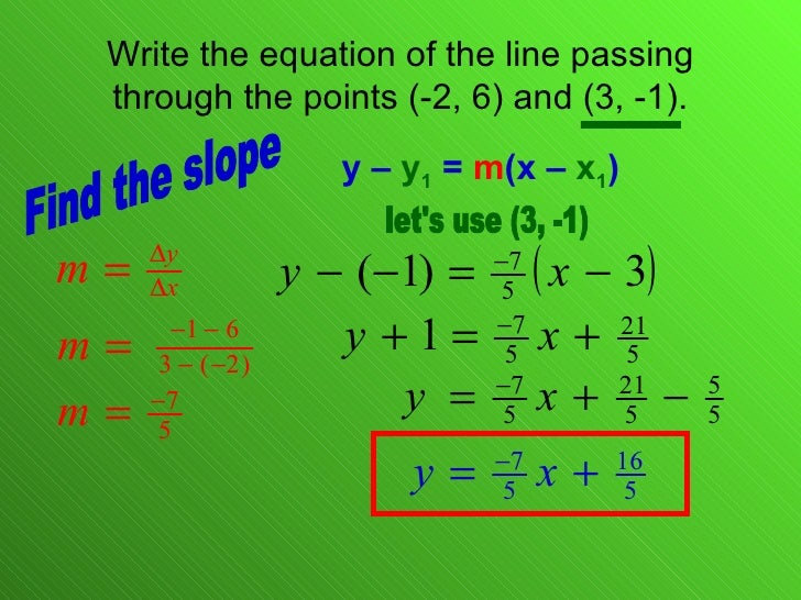 point slope form passing through 2 points  8.8 Linear Equations Point Slope Form