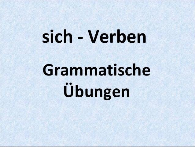 sich - Verben Grammatische Übungen