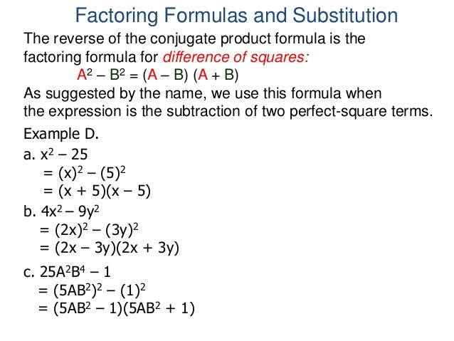 5 6 substitution and factoring formulas