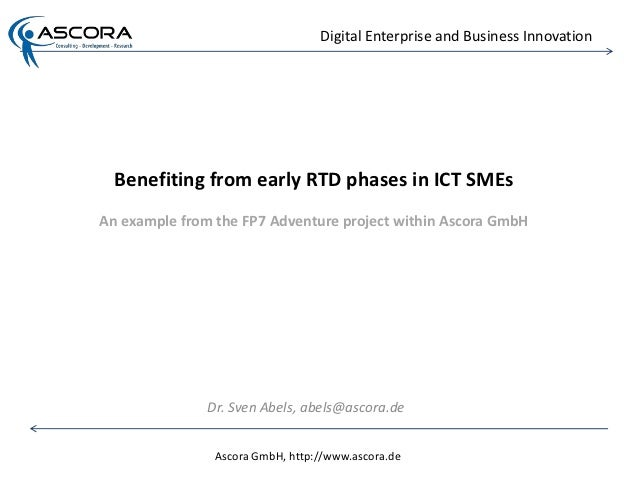 Digital Enterprise and Business Innovation  Benefiting from early RTD phases in ICT SMEsAn example from the FP7 Adventure ...