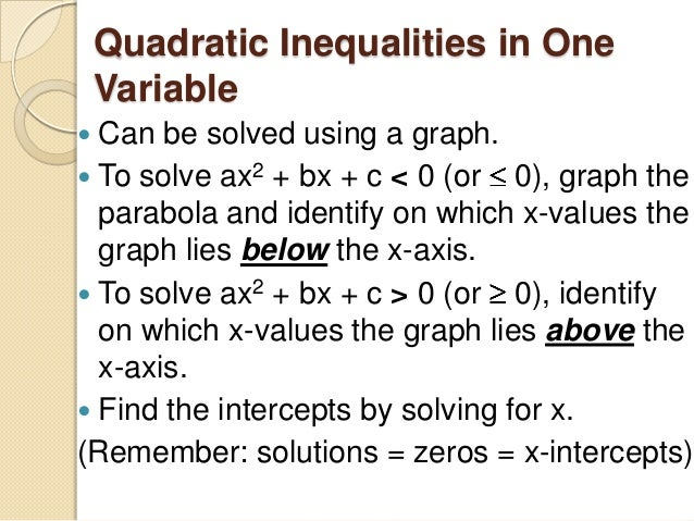 Worksheets Functions Solving Quadratic Inequalities In One Variable Worksheet 5 7 quadratic inequalities in one can be solved