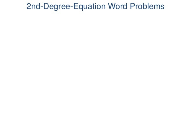 2nd-Degree-Equation Word Problems