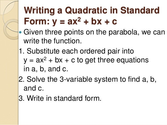 58 Modeling With Quadratic Functions