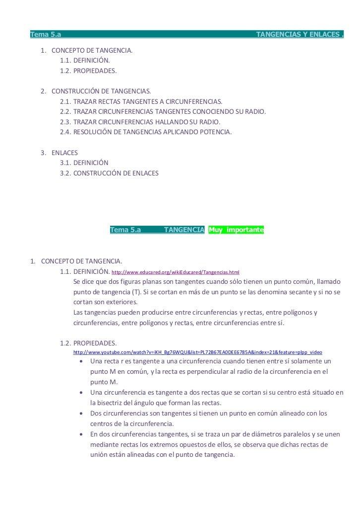 Tema 5.a                                                                           TANGENCIAS Y ENLACES .   1. CONCEPTO DE...