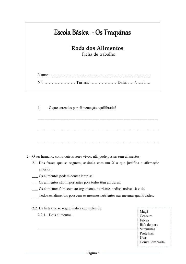Escola Básica - Os Traquinas                             Roda dos Alimentos                                    Ficha de tr...