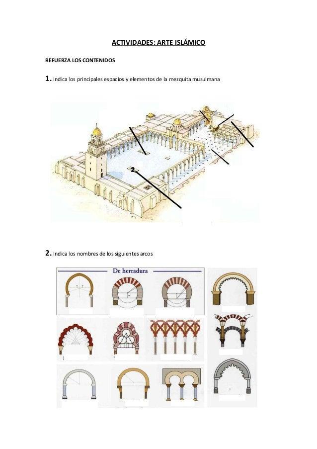ACTIVIDADES: ARTE ISLÁMICOREFUERZA LOS CONTENIDOS1. Indica los principales espacios y elementos de la mezquita musulmana2....