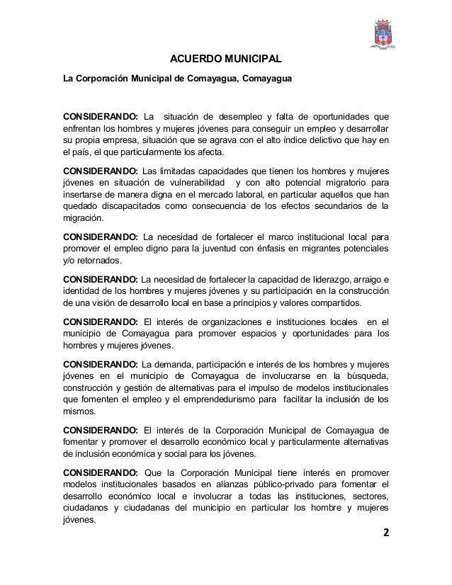 modelo de acuerdo municipal para creacion de oficinas