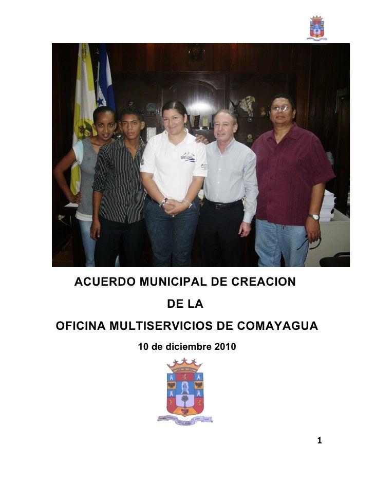 ACUERDO MUNICIPAL DE CREACION DE LA OFICINA MULTISERVICIOS