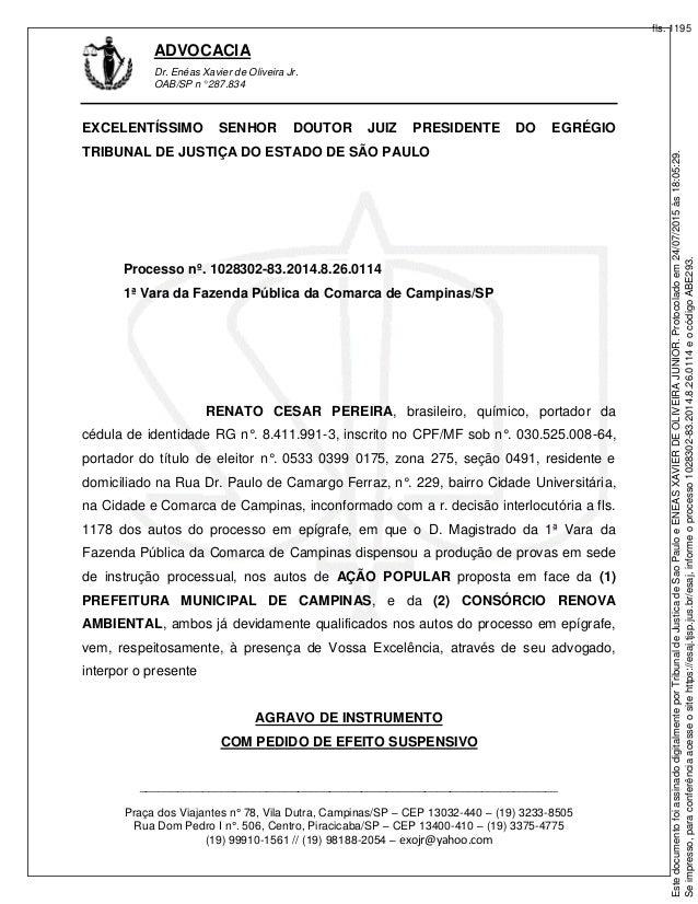 ADVOCACIA Dr. Enéas Xavier de Oliveira Jr. OAB/SP n° 287.834 _____________________________________________________________...