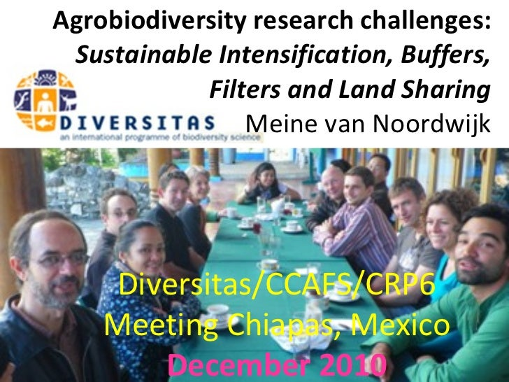 Agrobiodiversity research challenges:  Sustainable Intensification, Buffers, Filters and Land Sharing   Meine van Noordwij...