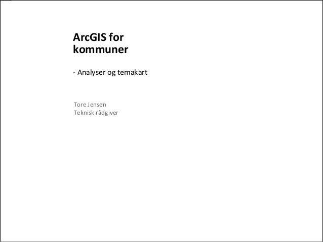ArcGIS forkommuner- Analyser og temakartTore JensenTeknisk rådgiver
