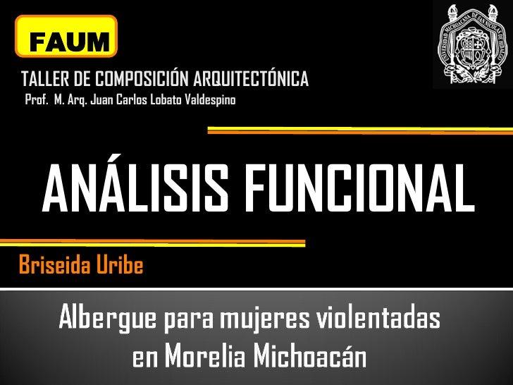 ANÁLISIS FUNCIONAL FAUM TALLER DE COMPOSICIÓN ARQUITECTÓNICA Prof.  M. Arq. Juan Carlos Lobato Valdespino Briseida Uribe