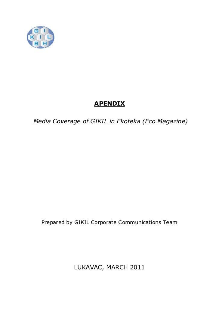 APENDIXMedia Coverage of GIKIL in Ekoteka (Eco Magazine)  Prepared by GIKIL Corporate Communications Team             LUKA...