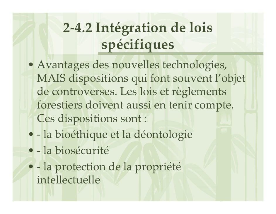 2‐4.2Intégrationdelois               spécifiques • Avantagesdesnouvellestechnologies,   MAISdispositionsquifont...