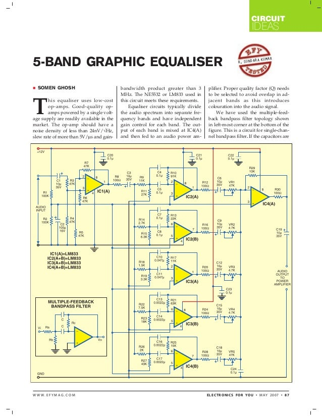 5 band graphic equaliser  Band Equalizer Circuit Diagram on