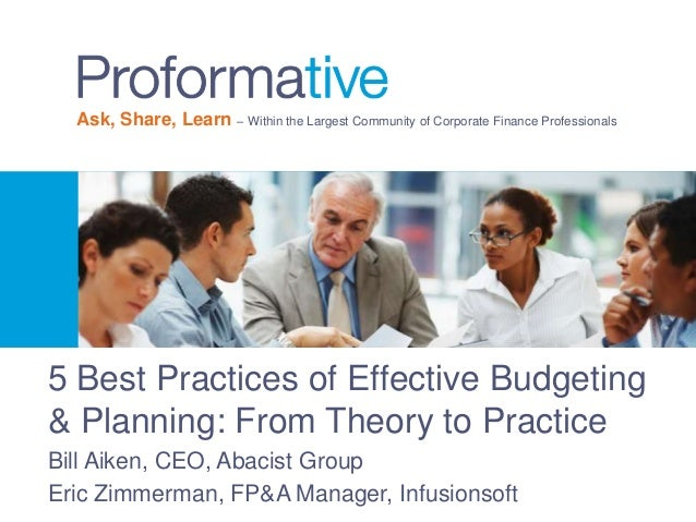 Ask, Share, Learn – Within the Largest Community of Corporate Finance Professionals  5 Best Practices of Effective Budgeti...