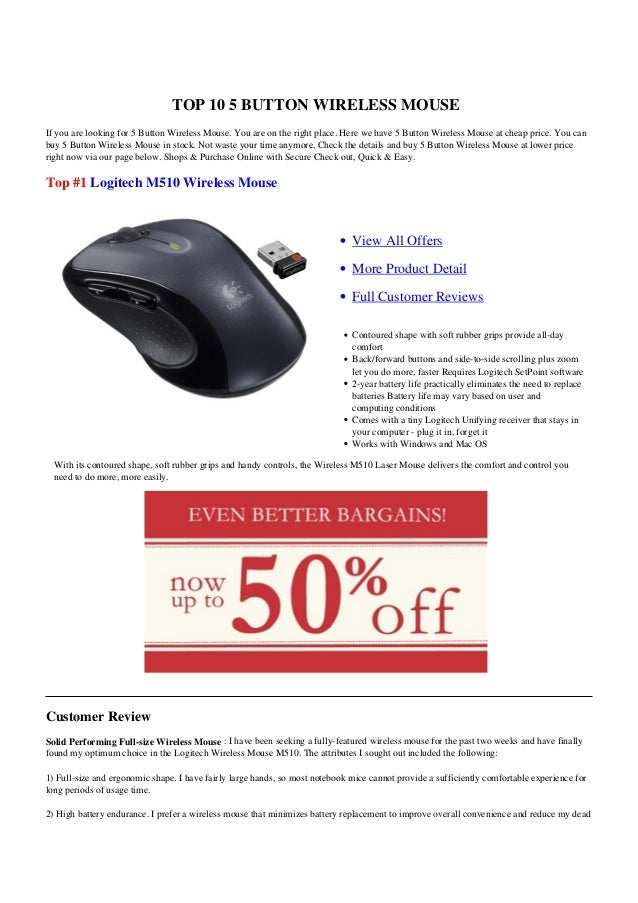 TOP 10 5 BUTTON WIRELESS MOUSEIf you are looking for 5 Button Wireless Mouse. You are on the right place. Here we have 5 B...