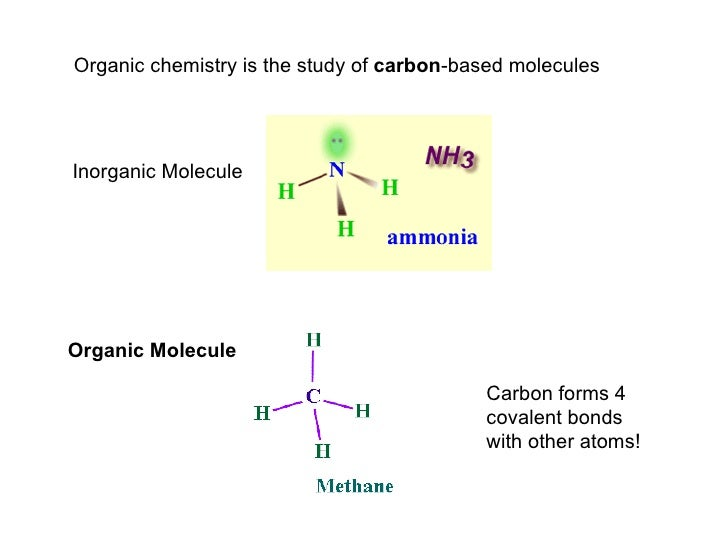 Organic chemistry is the study of  carbon -based molecules Inorganic Molecule Organic Molecule Carbon forms 4 covalent bon...