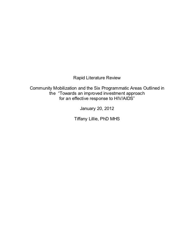 """Rapid Literature Review       Community Mobilization and the Six Programmatic Areas Outlined in               the """"Towards..."""