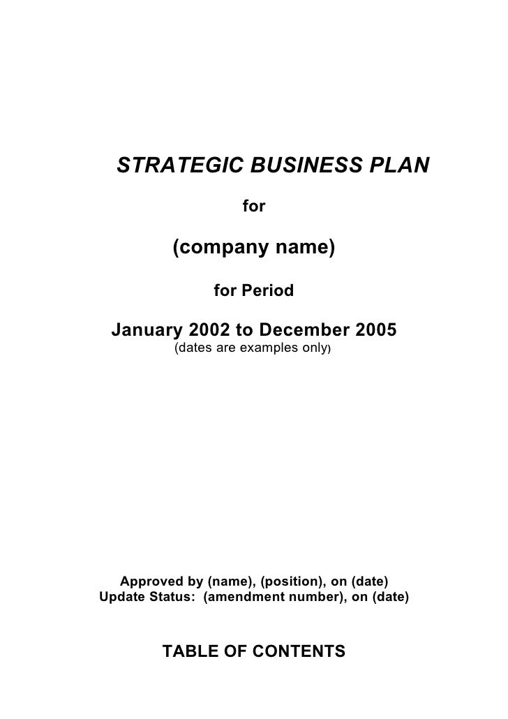 STRATEGIC BUSINESS PLAN For (company Name) ...  Business Plan Templates Microsoft