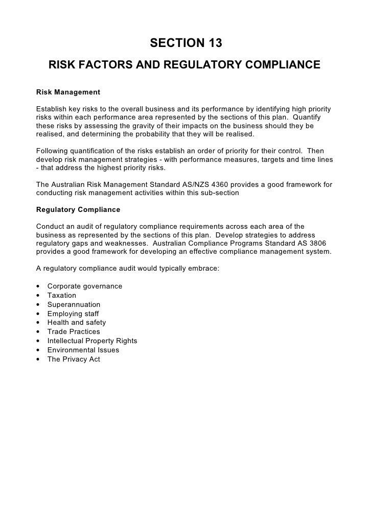 ... 19. SECTION 13 RISK FACTORS AND REGULATORY COMPLIANCE Risk Management  ...