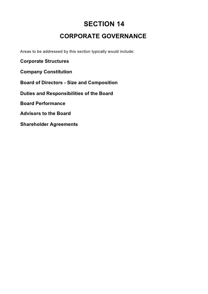 SECTION 14                      CORPORATE GOVERNANCE  Areas to be addressed by this section typically would include:  Corp...