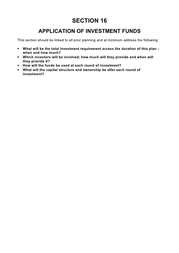 SECTION 16              APPLICATION OF INVESTMENT FUNDS This section should be linked to all prior planning and at minimum...
