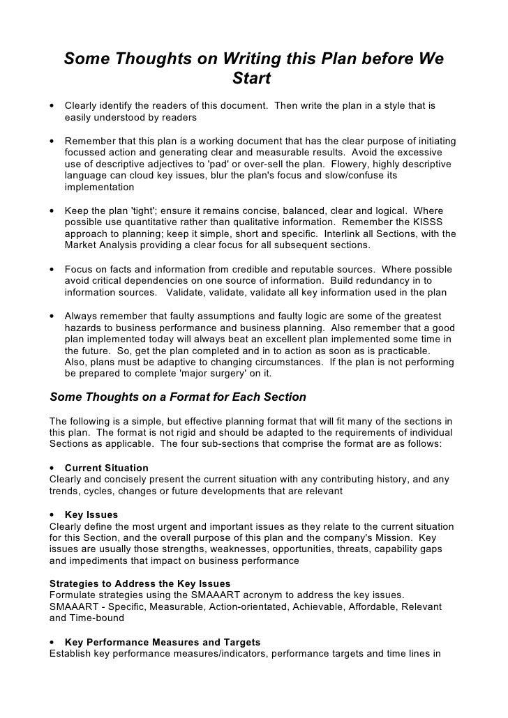 sample strategic business plan outline