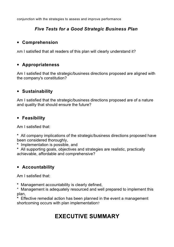strategic business plan contents