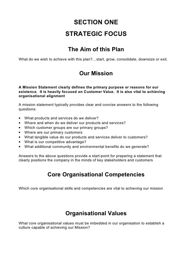 5 comprehensive strategic business plan template investors 6 section one strategic accmission Image collections