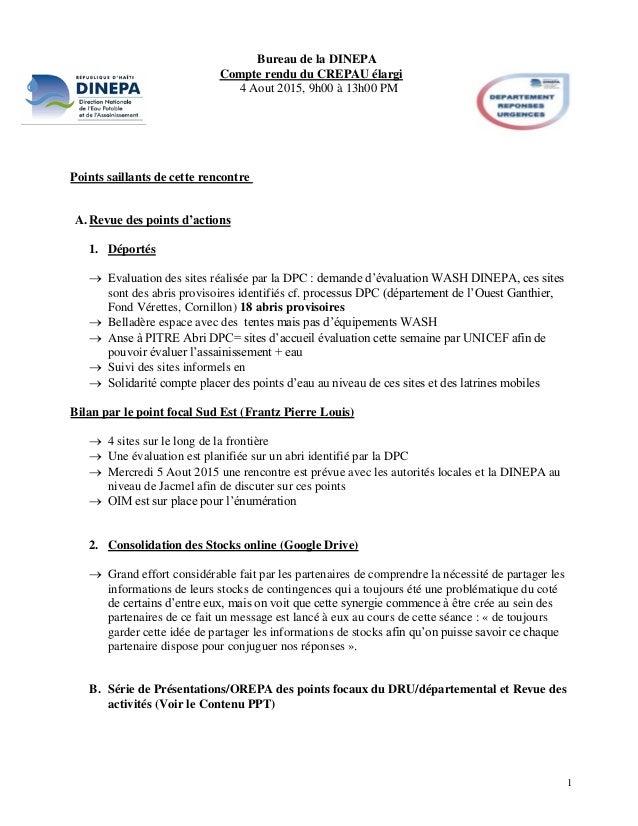 1 Bureau de la DINEPA Compte rendu du CREPAU élargi 4 Aout 2015, 9h00 à 13h00 PM Points saillants de cette rencontre A.Rev...