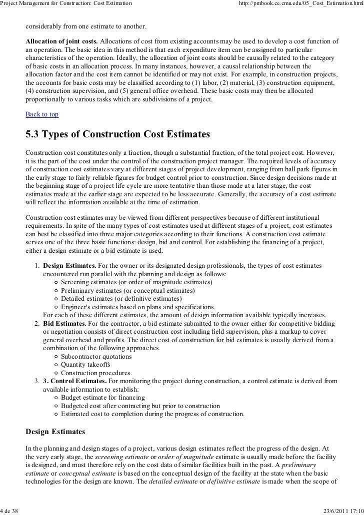 5. cost estimation