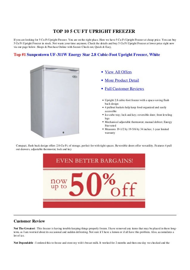 TOP 10 5 CU FT UPRIGHT FREEZERIf you are looking for 5 Cu Ft Upright Freezer. You are on the right place. Here we have 5 C...