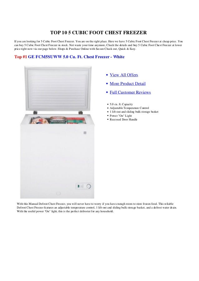 TOP 10 5 CUBIC FOOT CHEST FREEZERIf you are looking for 5 Cubic Foot Chest Freezer. You are on the right place. Here we ha...