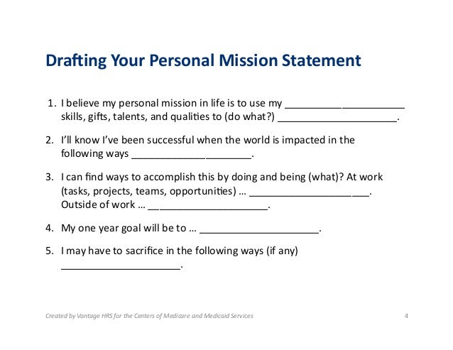 1.5: Drafting Your Personal Mission Statement