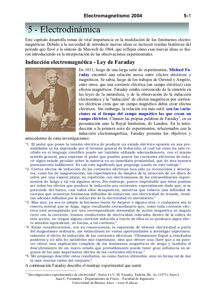 Electromagnetismo 2004                                                  5-1    5 - ElectrodinámicaEste capítulo desarrolla...