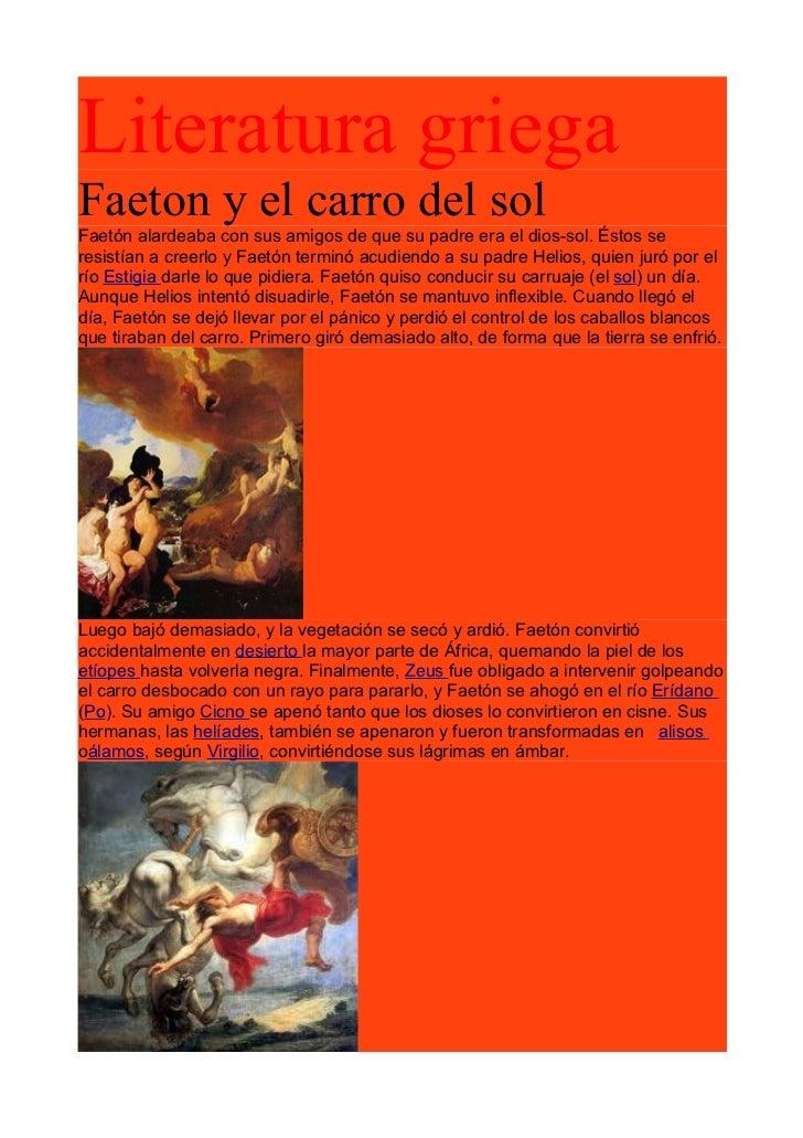 Faetón y el carro del sol. la ilíada.  César Crespo