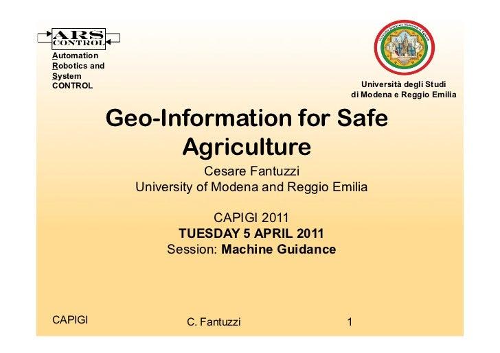 Geo-information for safe agriculture